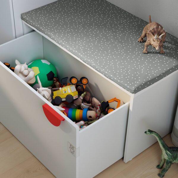 СМОСТАД Скамья с отделением для игрушек, белый/белый 90x50x48 см - 593.932.94