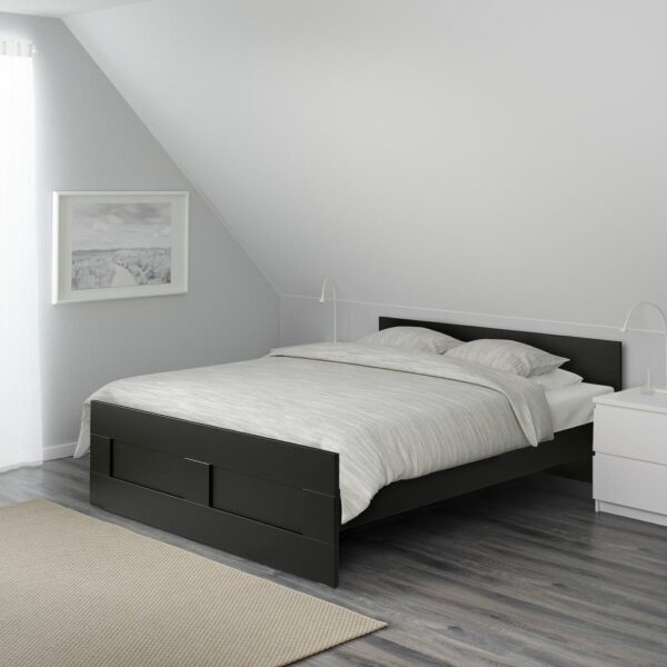 БРИМНЭС Каркас кровати, черный/Лурой 160x200 см - 394.193.89