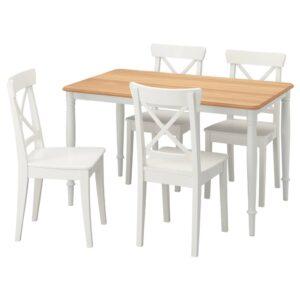 ДАНДЭРЮД / ИНГОЛЬФ Стол и 4 стула, белый/белый 130x80 см - 093.925.36