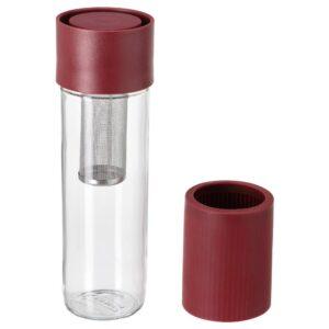 ЭФТРЕСТРЭВА Дорожная кружка, прозрачное стекло/силикон темно-красный 0.5 л - 604.800.06