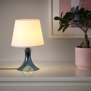 ЛАМПАН Лампа настольная, темно-синий/белый 29 см - 204.840.87