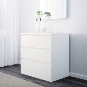 МАЛЬМ Комод с 3 ящиками, белый 80x78 см - 004.035.63