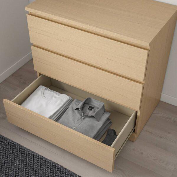 МАЛЬМ Комод с 3 ящиками, дубовый шпон, беленый 80x78 см - 504.035.65