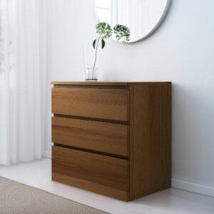 МАЛЬМ Комод с 3 ящиками, коричневая морилка ясеневый шпон 80x78 см - 604.035.60 / 103.685.35