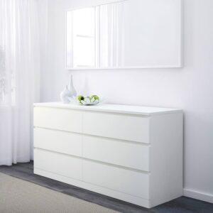 МАЛЬМ Комод с 6 ящиками, белый 160x78 см - 304.035.85