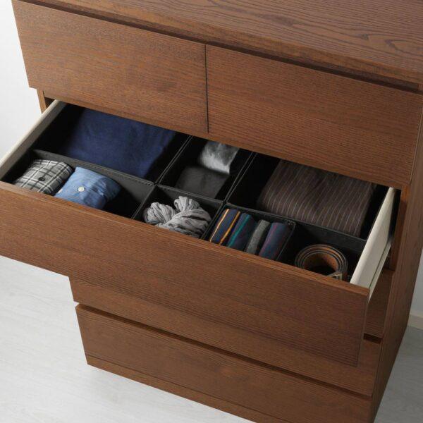 МАЛЬМ Комод с 6 ящиками, коричневая морилка ясеневый шпон 80x123 см - 604.035.98