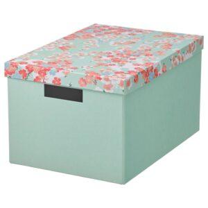 ТЬЕНА Коробка с крышкой, цветок/светло-зеленый 25x35x20 см - 504.770.33