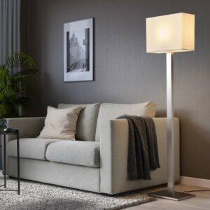 ТОМЕЛИЛЛА Светильник напольный, никелированный/белый 150 см - 004.693.75