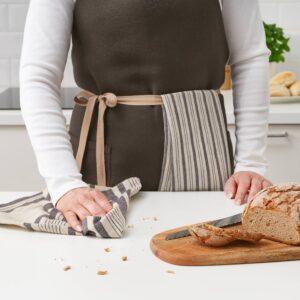 МАРИАТЕРЕС Полотенце кухонное, полоска/серый бежевый 50x70 см - 204.795.85
