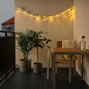 СОЛВИДЕН Гирлянда, 12 светодиодов, с батарейным питанием для сада/мини-фара синий - 204.870.43