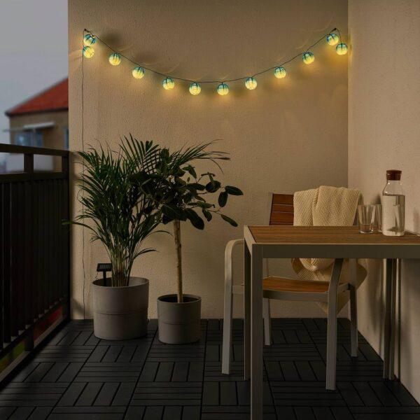 СОЛВИДЕН Гирлянда, 12 светодиодов, для сада шаровидный/синеватый оттенок - 504.873.67