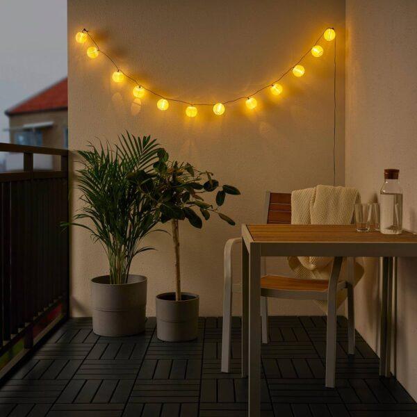 СОЛВИДЕН Гирлянда, 12 светодиодов, для сада/с батарейным питанием белый - 204.870.62