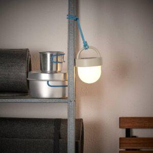 СОЛВИДЕН Подвесная светодиодная лампа, серый синий/для сада шаровидный 10 см - 004.869.35