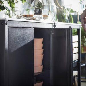 ГРИЛЛЬСКЭР Дверь/боковые панели/спинка, черный/нержавеющ сталь для сада 86x61 см - 004.889.15
