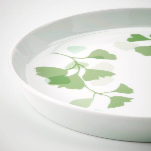 СТИЛЕНЛИГ Тарелка десертная, орнамент «листья» белый/зеленый 17 см - 104.509.93