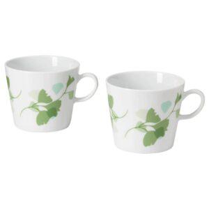 СТИЛЕНЛИГ Кружка, орнамент «листья» белый/зеленый 33 сл - 204.834.60