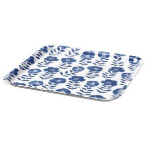 РОЗЕНХЭТТА Поднос, цветочный орнамент/синий 33x33 см - 204.813.43