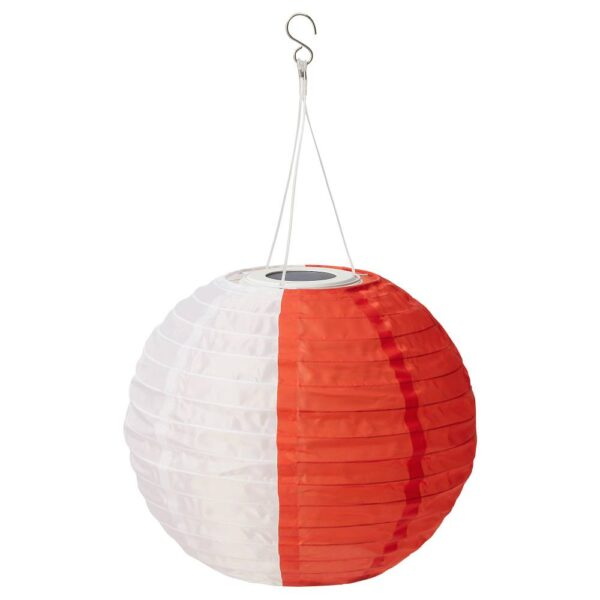 СОЛВИДЕН Подвесная светодиодная лампа, белый оранжевый/для сада шаровидный 30 см - 304.869.10