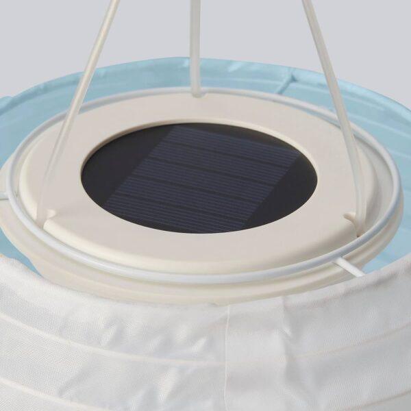 СОЛВИДЕН Подвесная светодиодная лампа, белый синий/для сада шаровидный 22 см - 504.869.14