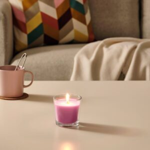 СИНЛИГ Ароматическая свеча в стакане, Вишневый/ярко-розовый 7.5 см - 204.825.59