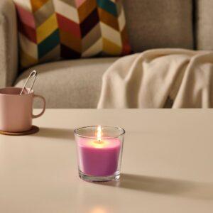 СИНЛИГ Ароматическая свеча в стакане, Вишневый/ярко-розовый 9 см - 404.825.63