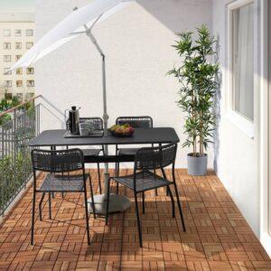 ВИХОЛЬМЕН / ВИХОЛЬМЕН Стол+4 стула, д/сада, темно-серый/темно-серый - 094.135.29