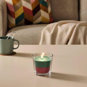 ФОРТГО Ароматическая свеча в стакане, Кокос и цветы/зеленый/розовый 9 см - 104.825.69