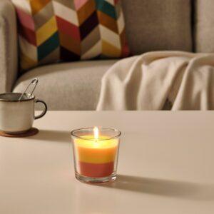 ФОРТГО Ароматическая свеча в стакане, Банановый/оранжевый/желтый 9 см - 704.825.66