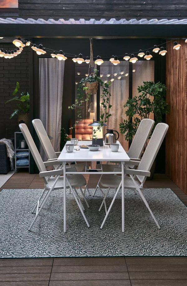 ТОРПАРЁ Садовый стол, белый/складной 130x74 см - 304.207.59