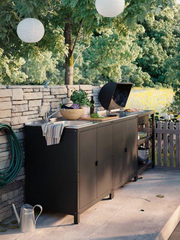 ГРИЛЛЬСКЭР Угольный гриль+модуль д/хранения, черный/нержавеющ сталь для сада 86x61 см - 504.889.13