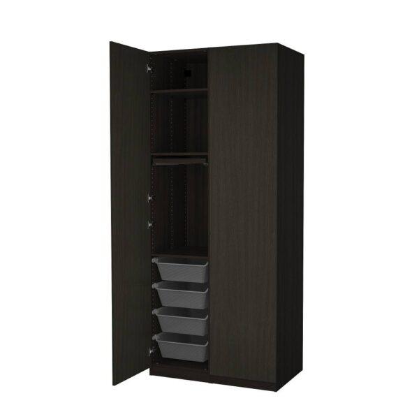 ПАКС / ФОРСАНД Гардероб, комбинация, под мореный ясень, черно-коричневый 100x60x236 см - 294.204.68