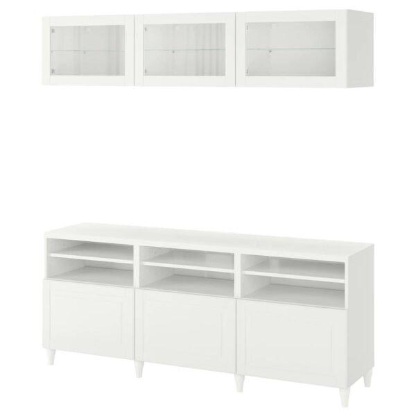 БЕСТО Шкаф для ТВ, комбин/стеклян дверцы, белый Смевикен/оствик белый прозрачное стекло 180x42x192 см - 893.847.83
