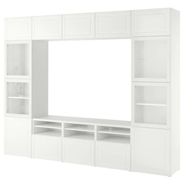 БЕСТО Шкаф для ТВ, комбин/стеклян дверцы, белый Смевикен/оствик белый прозрачное стекло 300x42x230 см - 893.848.20