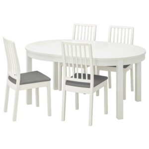 БЬЮРСТА / ЭКЕДАЛЕН Стол и 4 стула, белый/Рамна светло-серый 115 см - 792.968.38