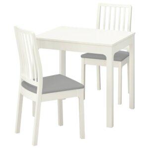 ЭКЕДАЛЕН Стол и 2 стула, белый/Рамна светло-серый 80/120 см - 092.968.70