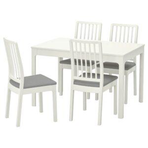 ЭКЕДАЛЕН Стол и 4 стула, белый/Рамна светло-серый 120/180 см - 192.968.60
