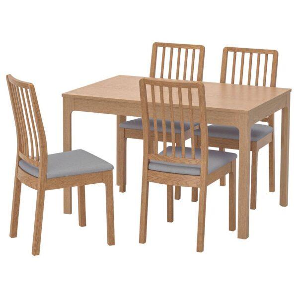 ЭКЕДАЛЕН Стол и 4 стула, дуб/Рамна светло-серый 120/180 см - 592.968.63