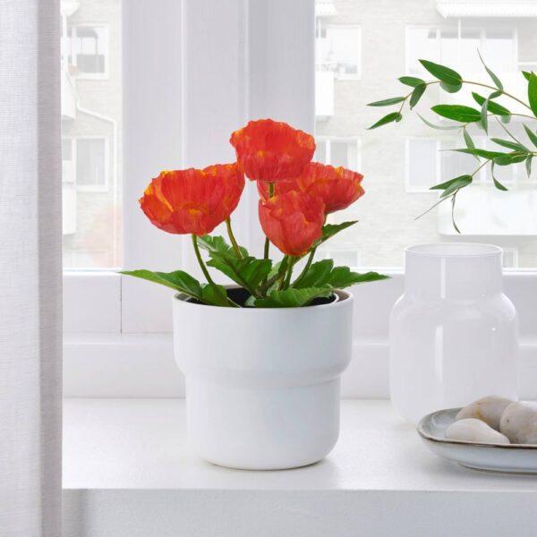 ФЕЙКА Искусственное растение в горшке, д/дома/улицы/Мак красный 9 см - 204.761.72