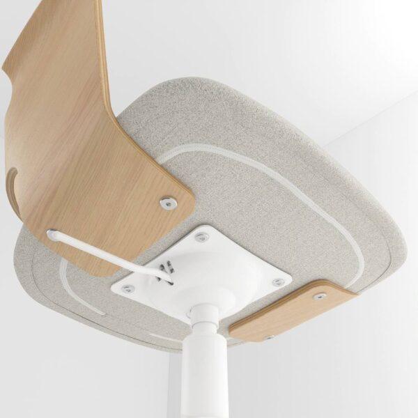 ФЬЕЛЛБЕРГЕТ Конференц-стул, на колесиках, дубовый шпон, беленый/Гуннаред бежевый - 704.877.62