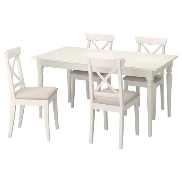 ИНГАТОРП / ИНГОЛЬФ Стол и 4 стула, белый/Халларп бежевый 155/215 см - 793.886.87