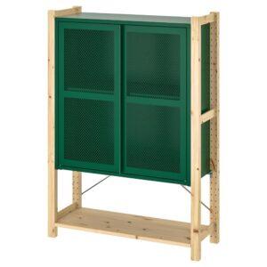 ИВАР 1 секция/полки/шкаф, сосна/зеленый сетка 89x30x124 см - 494.014.78