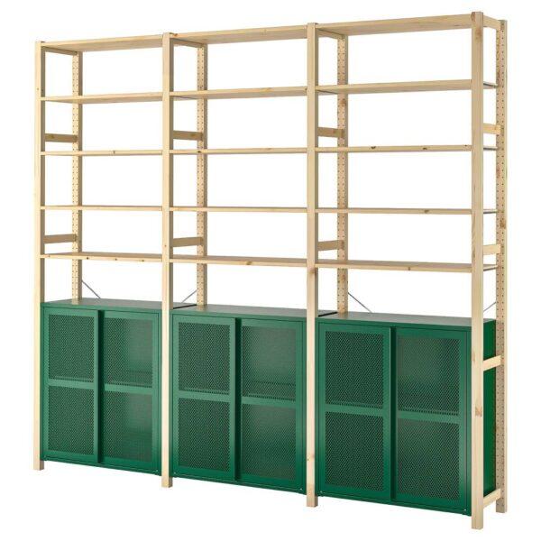 ИВАР 3 секции/шкаф/полки, сосна/зеленый сетка 259x30x226 см - 494.013.84
