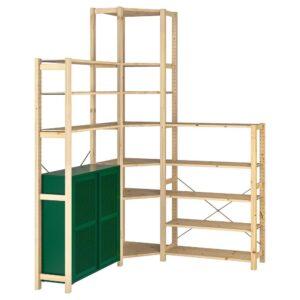 ИВАР 3 секции/угловой, сосна/зеленый сетка 145/145x30x226 см - 294.013.75