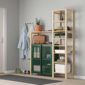 ИВАР Стеллаж со шкафами/ящиками, сосна/зеленый сетка 134x30x179 см - 694.013.78