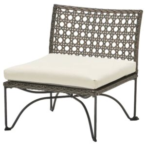 ЮТХОЛЬМЕН Садовое легкое кресло, темно-серый/Куддарна бежевый 65x73x71 см - 293.851.58
