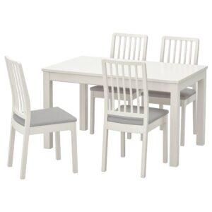ЛАНЕБЕРГ / ЭКЕДАЛЕН Стол и 4 стула, белый/белый светло-серый 130/190x80 см - 293.047.94