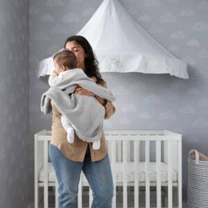 ЛЕН Одеяло детское, вязаный/серый 70x90 см - 804.915.51