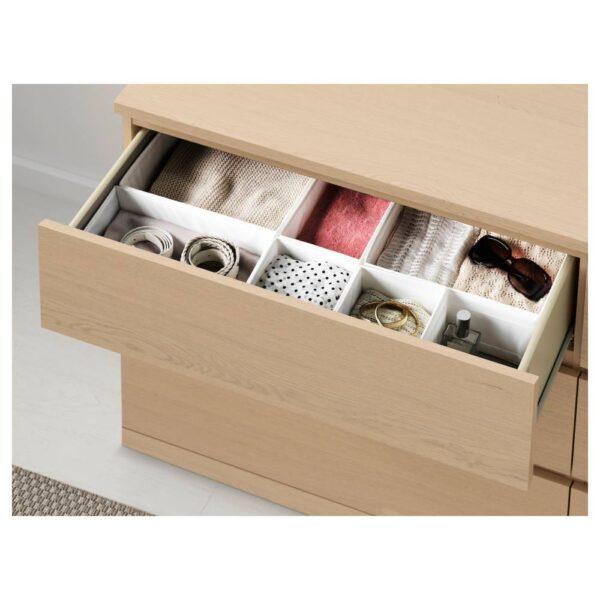 МАЛЬМ Комод с 6 ящиками, дубовый шпон, беленый 160x78 см - 104.035.86