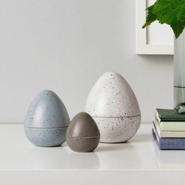 РОДФРОГА Набор украшений, 3шт, яйцо коричневый/серый/белый - 504.663.17