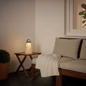 СОЛВИДЕН Настольн светодиодн лампа/солн бат, серый/синий - 604.869.75